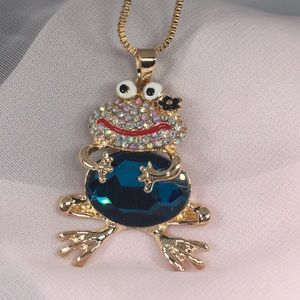 Frog Necklace 1 large & many smaller crystals